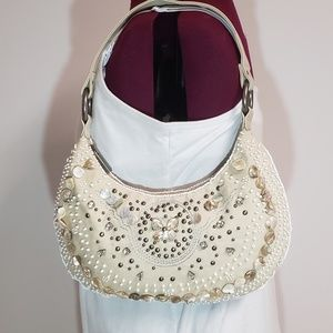Express shoulder bag with mother of pearl accents